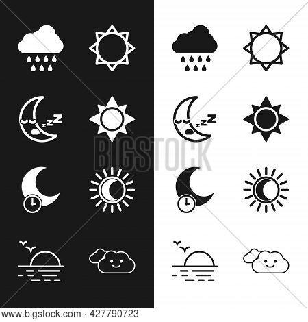 Set Sun, Moon Icon, Cloud With Rain, Sleeping Moon, Eclipse Of The Sun, And Sunset Icon. Vector