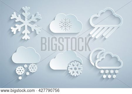 Set Cloud With Snow, Rain, And Moon, And Snowflake Icon. Vector