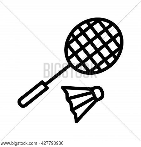 Badminton Flat Line Icon. Badminton Racket And Shuttlecocks, Equipments For Game Sport. Outline Sign