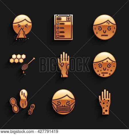 Set Hand With Psoriasis Or Eczema, Face In Protective Mask, Peanut, Honeycomb Honey Dipper, Man Exce