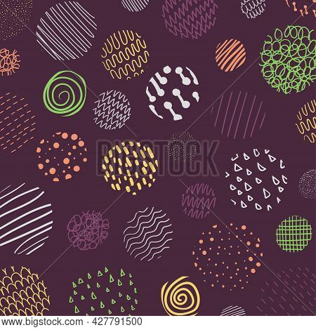 Abstract Cover Of Circles Pattern Design Of Colorful Doodle Wavy Style Pattern. Free Hand Drawing Ar