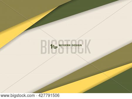 Abstract Yellow And Green Color Line Template With Shadow Style Artwork, Copy Space Of Text In Cente