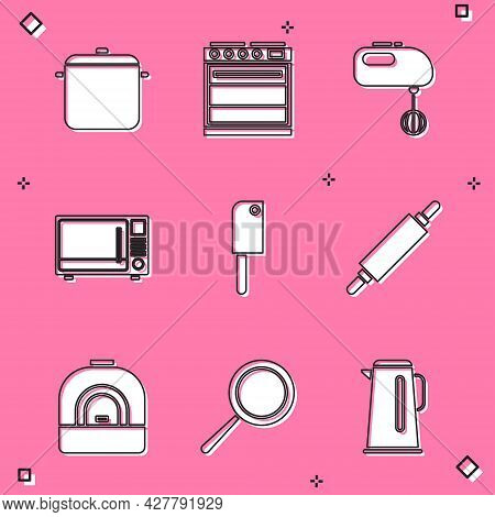 Set Cooking Pot, Oven, Electric Mixer, Microwave Oven, Meat Chopper, Rolling Pin, And Frying Pan Ico