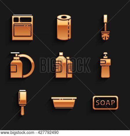 Set Bottles For Cleaning Agent, Plastic Basin, Bar Of Soap, Dishwashing Liquid Bottle, Adhesive Roll