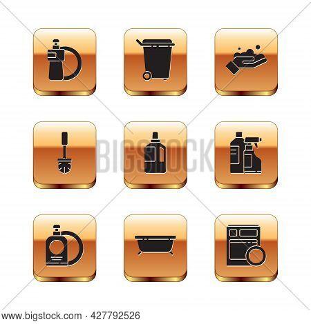 Set Dishwashing Liquid Bottle And Plate, Bathtub, Fabric Softener, Toilet Brush, Washing Hands With