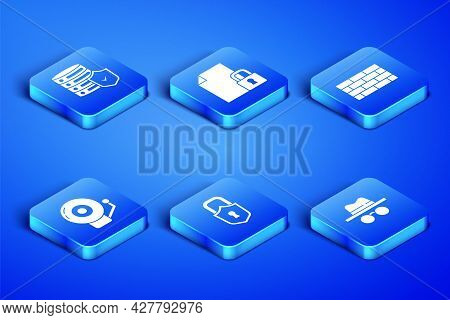 Set Incognito Mode, Server With Shield, Lock, Ringing Alarm Bell, Document And Lock And Firewall, Se