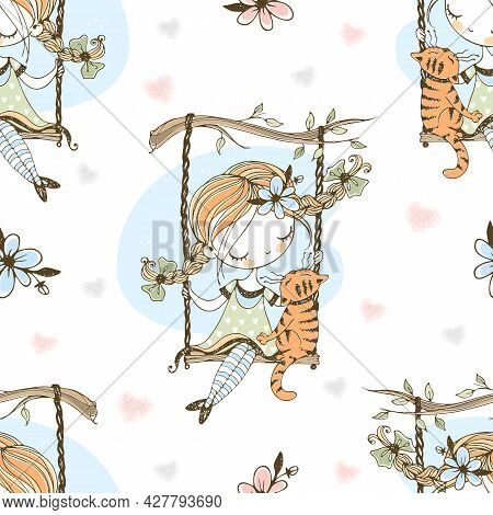 A Cute Girl With Pigtails Swings On A Swing With Her Cat. Vector.