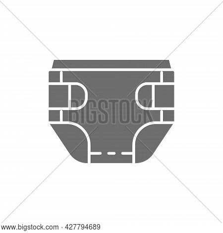 Baby Absorbent Diaper Grey Icon. Isolated On White Background