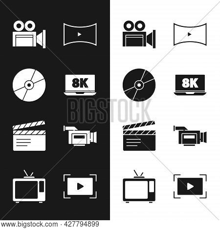 Set Laptop With 8k, Cd Or Dvd Disk, Cinema Camera, Online Play Video, Movie Clapper, And Retro Tv Ic