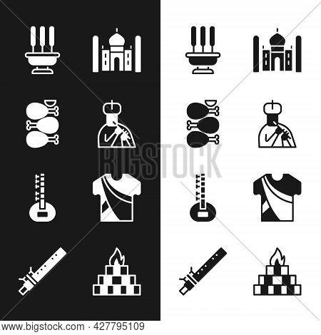 Set Indian Man Plays Flute, Tandoori Chicken, Incense Sticks, Taj Mahal, Sitar, Dress, Yagna And Bam