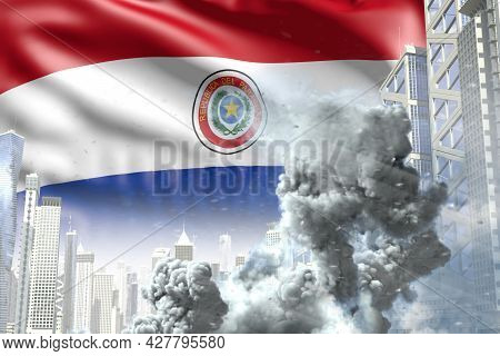 Large Smoke Column In The Modern City - Concept Of Industrial Disaster Or Act Of Terror On Paraguay