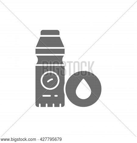 Vector Healthy Yogurt, Bifidobacterium, Lactobacillus Grey Icon.