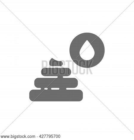 Liquid Feces, Indigestion Grey Icon. Isolated On White Background
