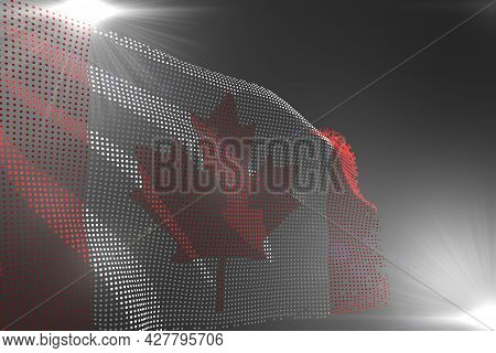 Beautiful Digital Photo Of Canada Flag Made Of Dots Waving On Grey With Empty Space For Text - Any F