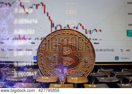 Gold Bitcoins With Candle Stick Graph Chart And Digital Background.golden Coin With Icon Letter B.mi
