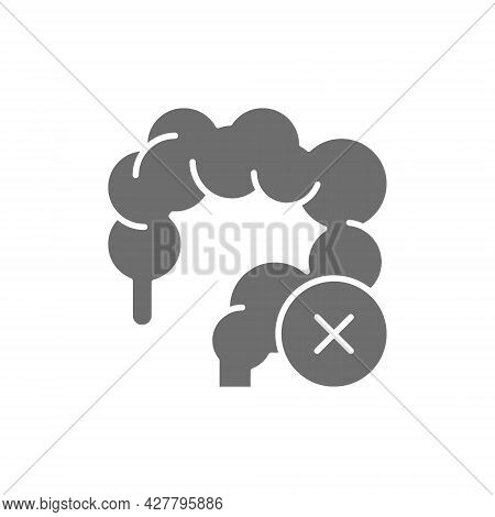 Unhealthy Intestines, Colon Grey Icon. Isolated On White Background