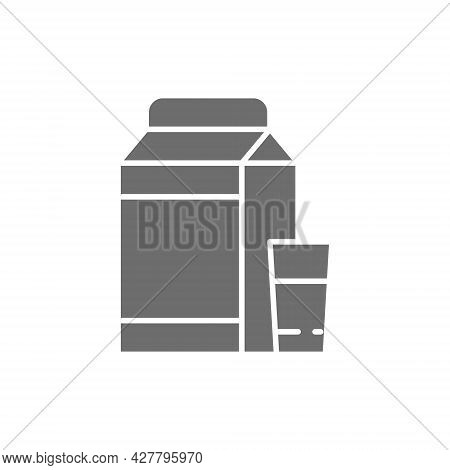 Kefir, Milk, Lactobacillus Grey Icon. Isolated On White Background