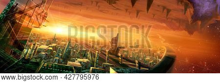 Digital Illustration Of Futuristic Science Fiction City Street View Environment Landscape In Space