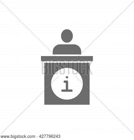 Vector Information Desk, Help Mark Grey Icon.