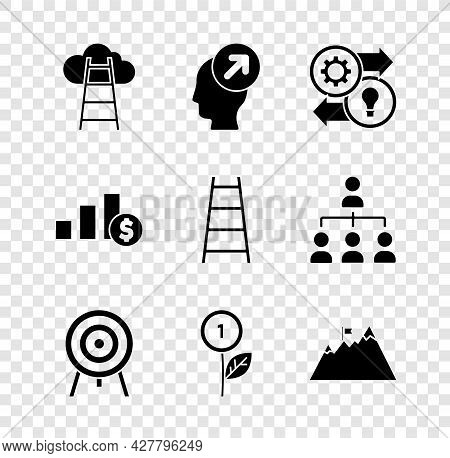 Set Stair With Finish Flag, Head Hunting Concept, Human Resources, Target, Dollar Plant, Mountains,