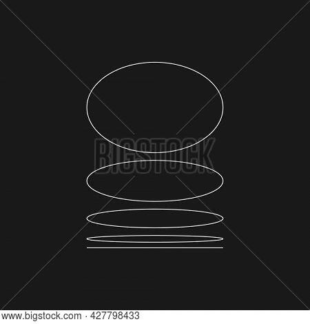 Retrofuturistic Of A Round Plane At Different Angles. Cyber Retro Design Element. Circle Flatness In