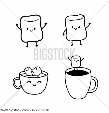 Cute Marshmallow Characters With Different Facial Expressions. Marshmallows Float In A Cup Of Cocoa,