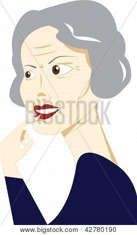 Engaged senior woman