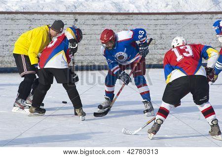 Hockey match moment
