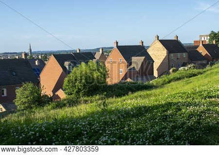 Grantham, England- June 22, 2021. View Of Residential Houses On Hilltop In Grantham.