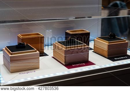 Moscow, Russia - May 23, 2021: Pickup Heads For Turntables Of Different Companies On The Showcase
