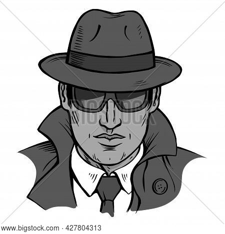 Male Detective Investigating On A White Background