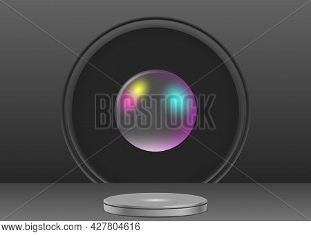 Realistic Dark Scene With A Round Pedestal And Rainbow Transparent Sphere
