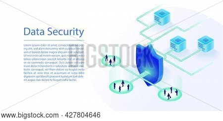 Data Cloud Computing Security Concept. 3d Isometric Vector Illustration Of A Cloud Data Center Prote