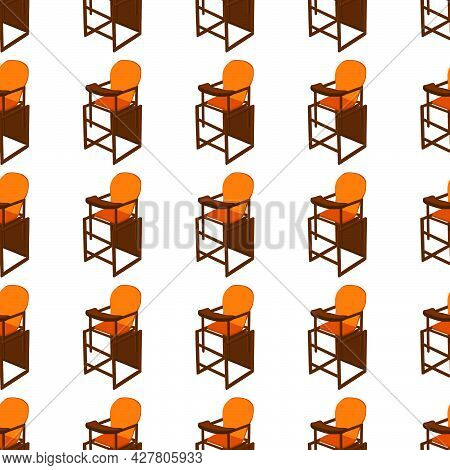 Illustration On Theme Colorful Modern Child High Chair