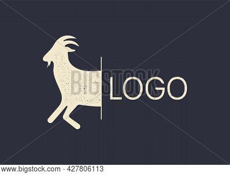 Vintage Goat Logo For Butchery Meat Shop, Goat Farm, Dairy Farm. Logo Template For Meat Business, Me