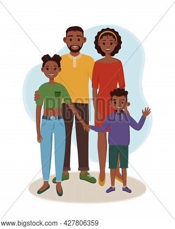 Black Father And Mother With Their Children Are Standing. Vector Illustration Of Happy Parents With