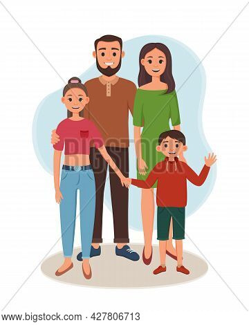 Father And Mother With Their Children Are Standing. Vector Illustration Of Happy Parents With Daught