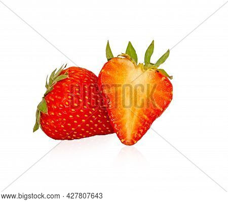 Group Of Fresh Berry Fruit, Round And A Half Sliced Of Red Strawberry Isolated On White Background,