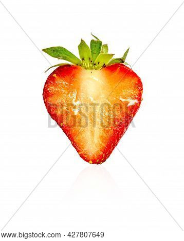Plant Part Of A Fresh Berry Fruit , Half Red Strawberry Sliced Isolated On White Background, Diecut