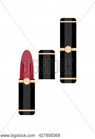 Vector Red Lipstick. Decorative Cosmetics For The Face. Womens Cosmetics. Icon For The Site. Clipart