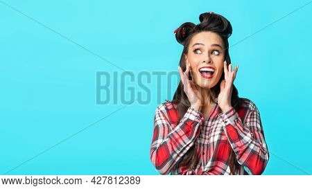 Announcement Concept. Young Pinup Woman Shouting, Holding Hands Near Mouth, Sharing News, Making Off