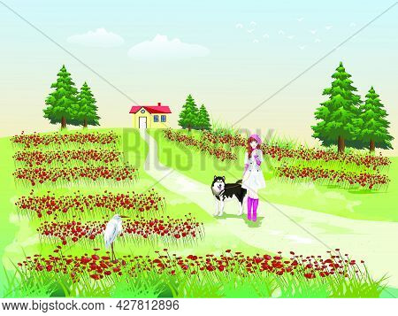 A Girl Leading A Dog On A Hillside Walkway With Green Fields And Sky In The Background.