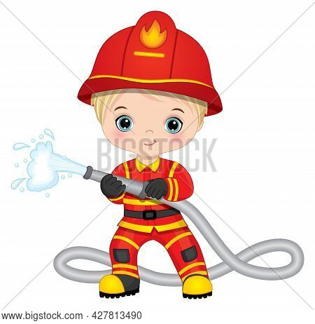 Cute Little Boy Firefighter With Fire Hose. Vector Little Fireman. Little Boy Firefighter Vector Ill