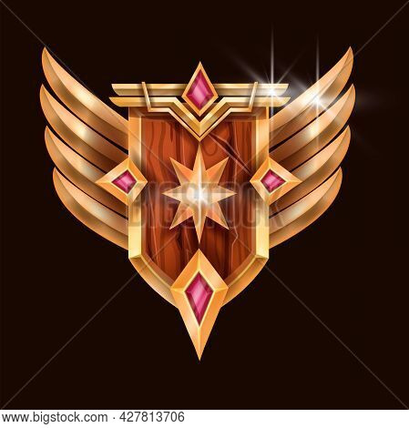 Trophy Game Badge Icon, Vector Rank Award Medal, Wooden Shield, Golden Star, Wings, Red Gemstone. Le