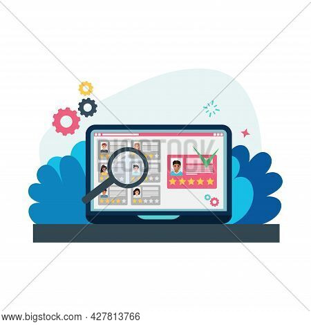 Concept For Human Resource Management. Several Resumes With Grades On The Computer Monitor. Searchin