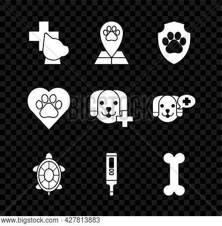 Set Veterinary Clinic Symbol, Map Pointer With Veterinary Medicine Hospital, Animal Health Insurance