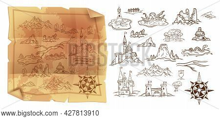Old Game Map, Vector Vintage Parchment Illustration, Travel Doodle Cartography Object Set, Wind Rose