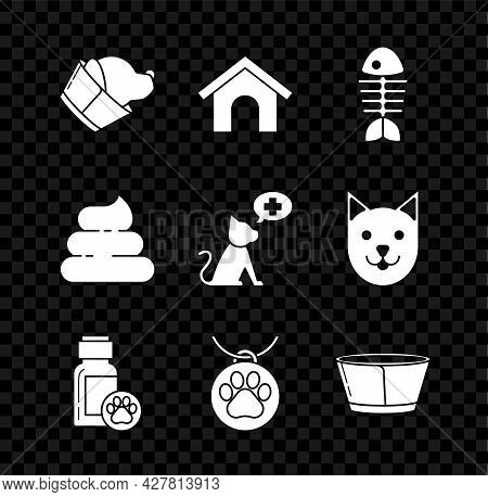 Set Veterinary Clinic Symbol, Dog House, Fish Skeleton, Medicine Bottle, Collar With Name Tag, Prote