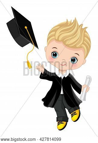 Happy Little Graduation Boy With Diploma. The Boy Is Dressed In In Black Gown Throwing Graduation Ca