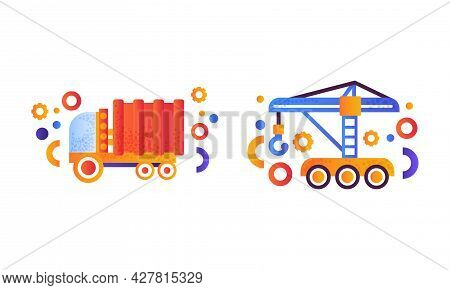 Heavy Industrial Machinery Set, Dump Garbage Truck, Industrial Hoisting Crane Flat Vector Illustrati